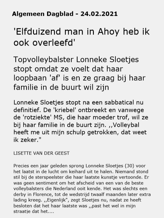 Lonneke Sloetjes stopt met volleybal